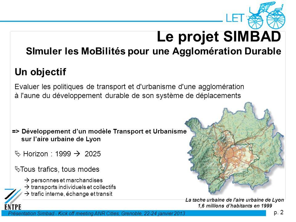 p. 2 Présentation Simbad - Kick off meeting ANR Cities, Grenoble, 22-24 janvier 2013 Le projet SIMBAD SImuler les MoBilités pour une Agglomération Dur