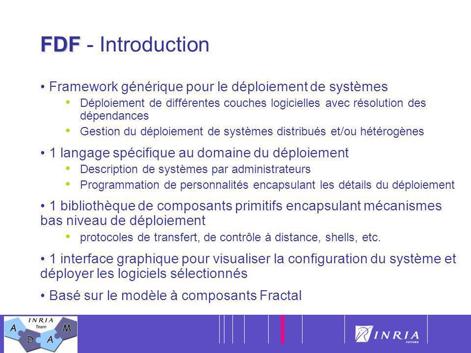 10 FDF FDF - Introduction Framework générique pour le déploiement de systèmes Déploiement de différentes couches logicielles avec résolution des dépen