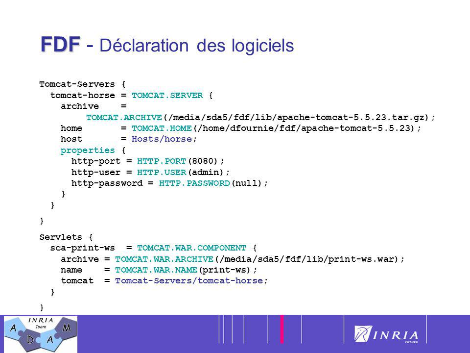 14 FDF FDF - Déclaration des logiciels Tomcat-Servers { tomcat-horse = TOMCAT.SERVER { archive = TOMCAT.ARCHIVE(/media/sda5/fdf/lib/apache-tomcat-5.5.