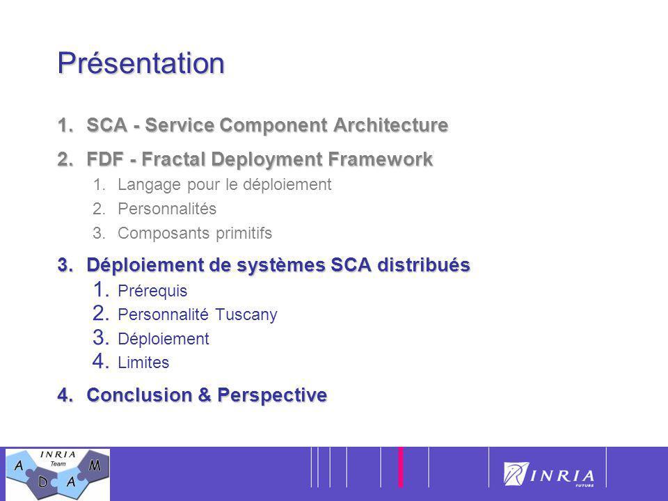 17Présentation 1.SCA - Service Component Architecture 2.FDF - Fractal Deployment Framework 1.Langage pour le déploiement 2.Personnalités 3.Composants