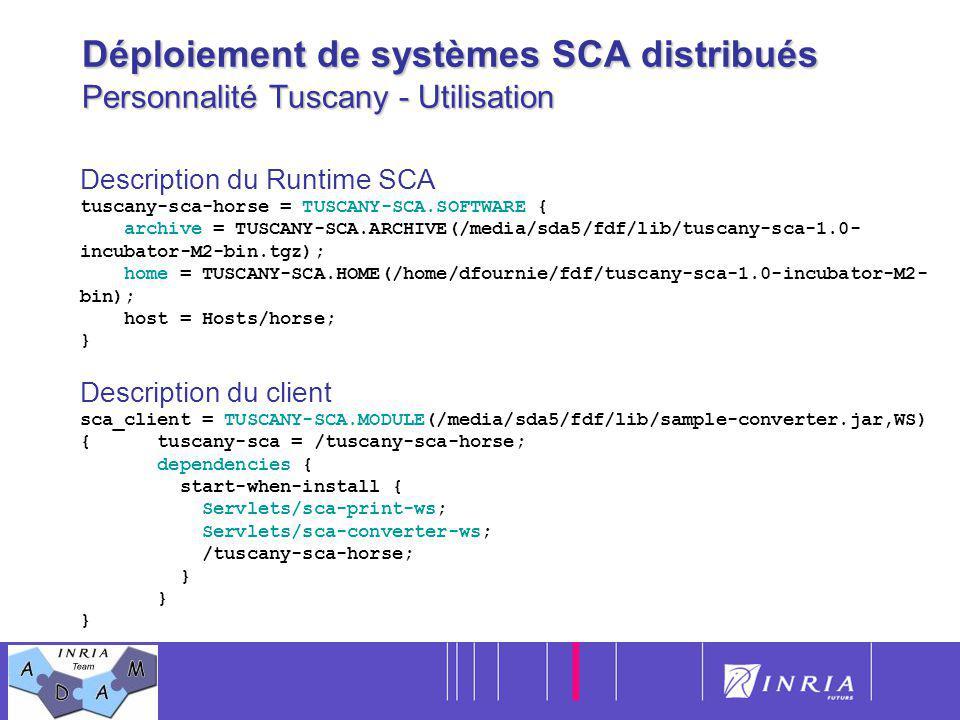 19 Déploiement de systèmes SCA distribués Personnalité Tuscany - Utilisation Description du Runtime SCA tuscany-sca-horse = TUSCANY-SCA.SOFTWARE { arc