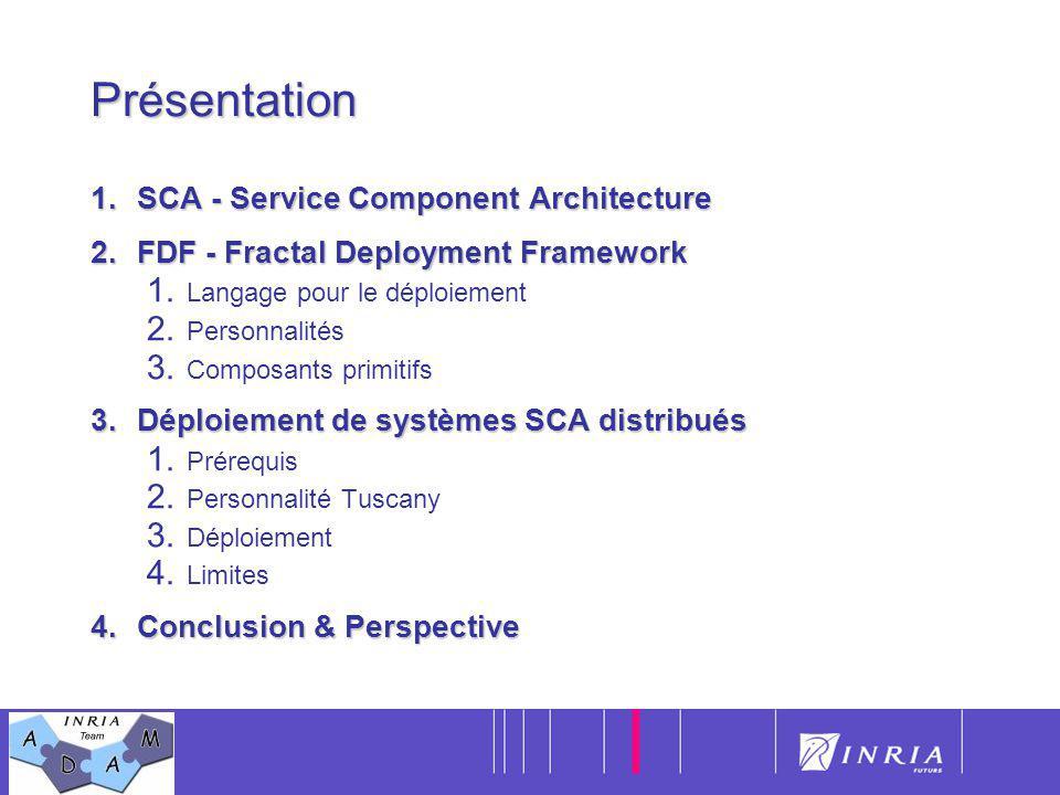 2Présentation 1.SCA - Service Component Architecture 2.FDF - Fractal Deployment Framework 1. Langage pour le déploiement 2. Personnalités 3. Composant