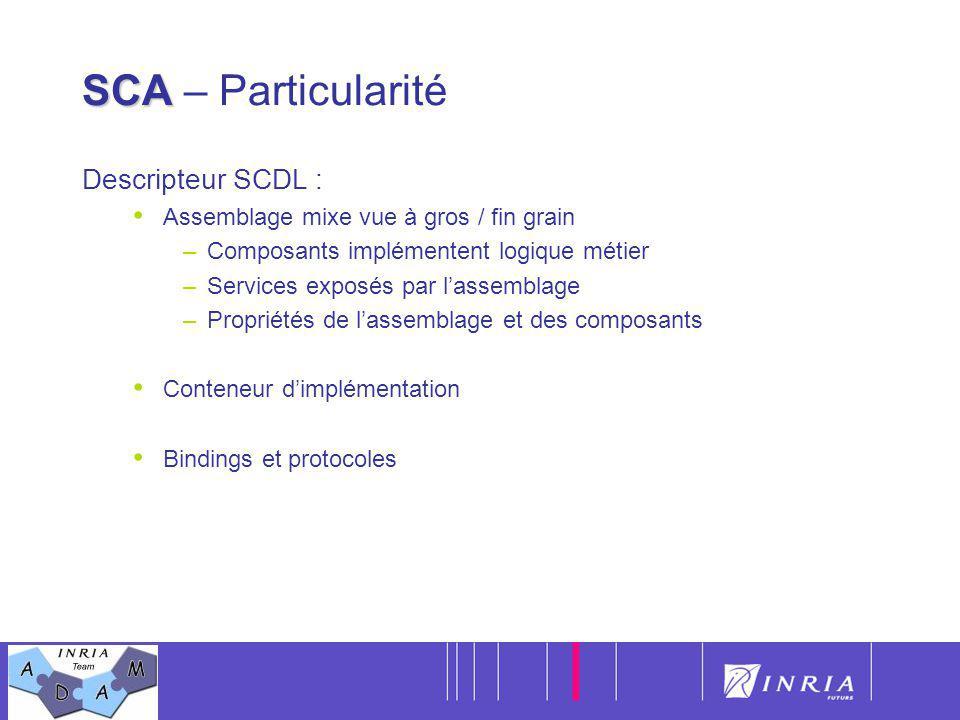 5 SCA SCA – Particularité Descripteur SCDL : Assemblage mixe vue à gros / fin grain –Composants implémentent logique métier –Services exposés par lass