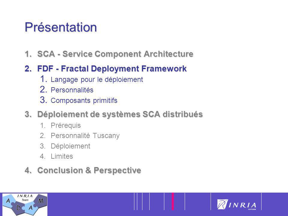 9Présentation 1.SCA - Service Component Architecture 2.FDF - Fractal Deployment Framework 1. Langage pour le déploiement 2. Personnalités 3. Composant