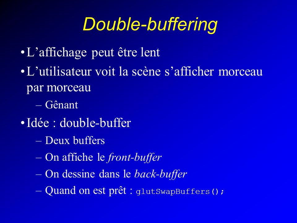 Double-buffering Laffichage peut être lent Lutilisateur voit la scène safficher morceau par morceau –Gênant Idée : double-buffer –Deux buffers –On affiche le front-buffer –On dessine dans le back-buffer –Quand on est prêt : glutSwapBuffers();