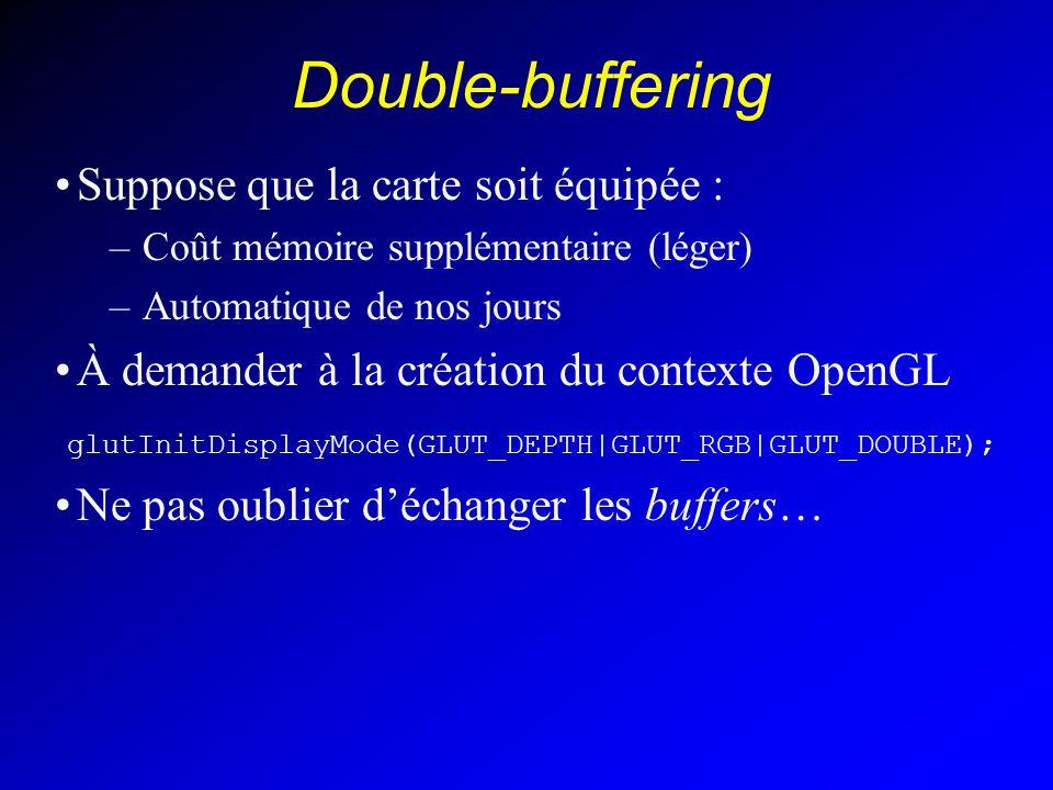 Double-buffering Suppose que la carte soit équipée : –Coût mémoire supplémentaire (léger) –Automatique de nos jours À demander à la création du contexte OpenGL glutInitDisplayMode(GLUT_DEPTH|GLUT_RGB|GLUT_DOUBLE); Ne pas oublier déchanger les buffers…