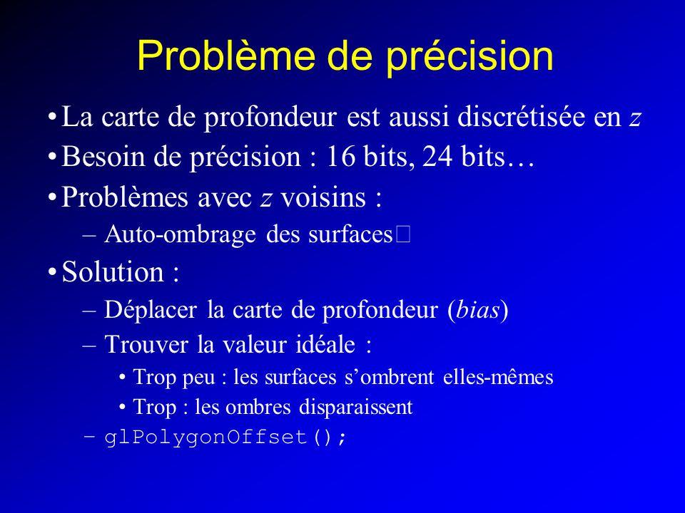 Problème de précision La carte de profondeur est aussi discrétisée en z Besoin de précision : 16 bits, 24 bits… Problèmes avec z voisins : –Auto-ombrage des surfaces Solution : –Déplacer la carte de profondeur (bias) –Trouver la valeur idéale : Trop peu : les surfaces sombrent elles-mêmes Trop : les ombres disparaissent –glPolygonOffset();
