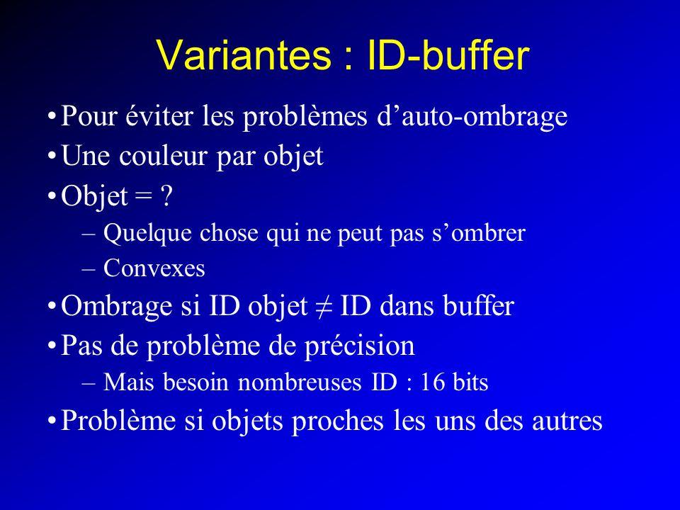 Variantes : ID-buffer Pour éviter les problèmes dauto-ombrage Une couleur par objet Objet = .
