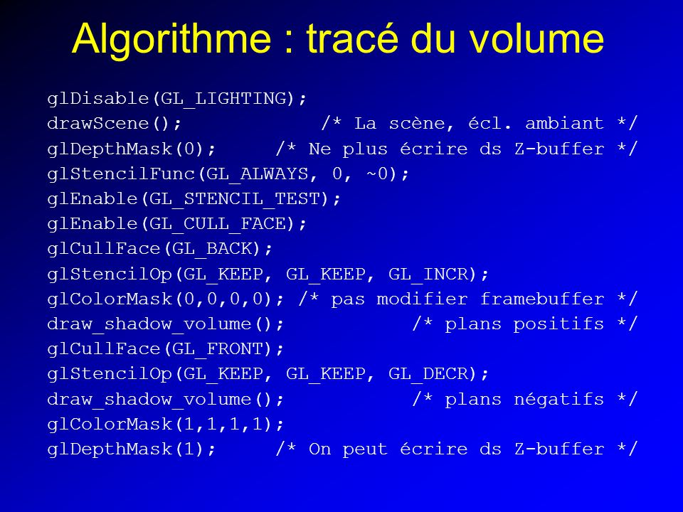 Algorithme : tracé du volume glDisable(GL_LIGHTING); drawScene(); /* La scène, écl.