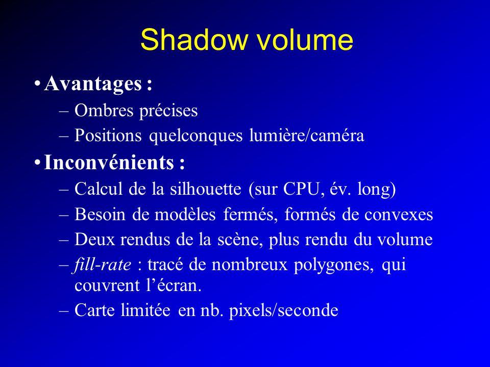 Shadow volume Avantages : –Ombres précises –Positions quelconques lumière/caméra Inconvénients : –Calcul de la silhouette (sur CPU, év.