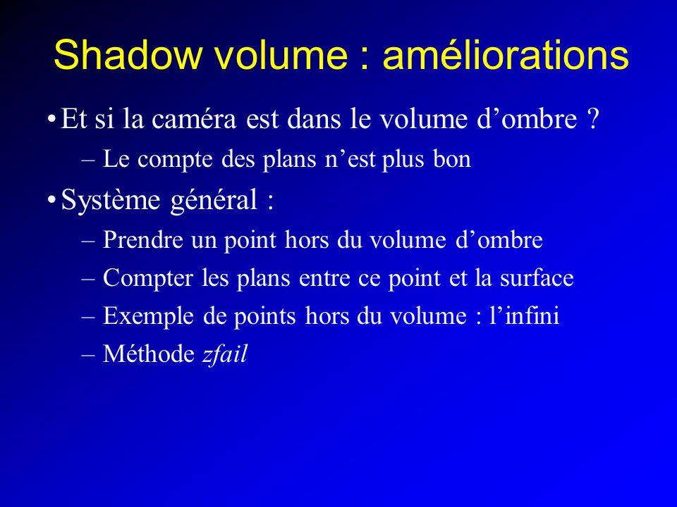 Shadow volume : améliorations Et si la caméra est dans le volume dombre .