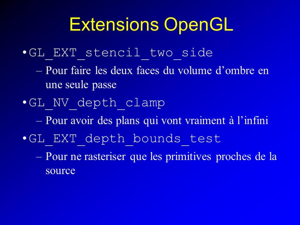 Extensions OpenGL GL_EXT_stencil_two_side –Pour faire les deux faces du volume dombre en une seule passe GL_NV_depth_clamp –Pour avoir des plans qui vont vraiment à linfini GL_EXT_depth_bounds_test –Pour ne rasteriser que les primitives proches de la source