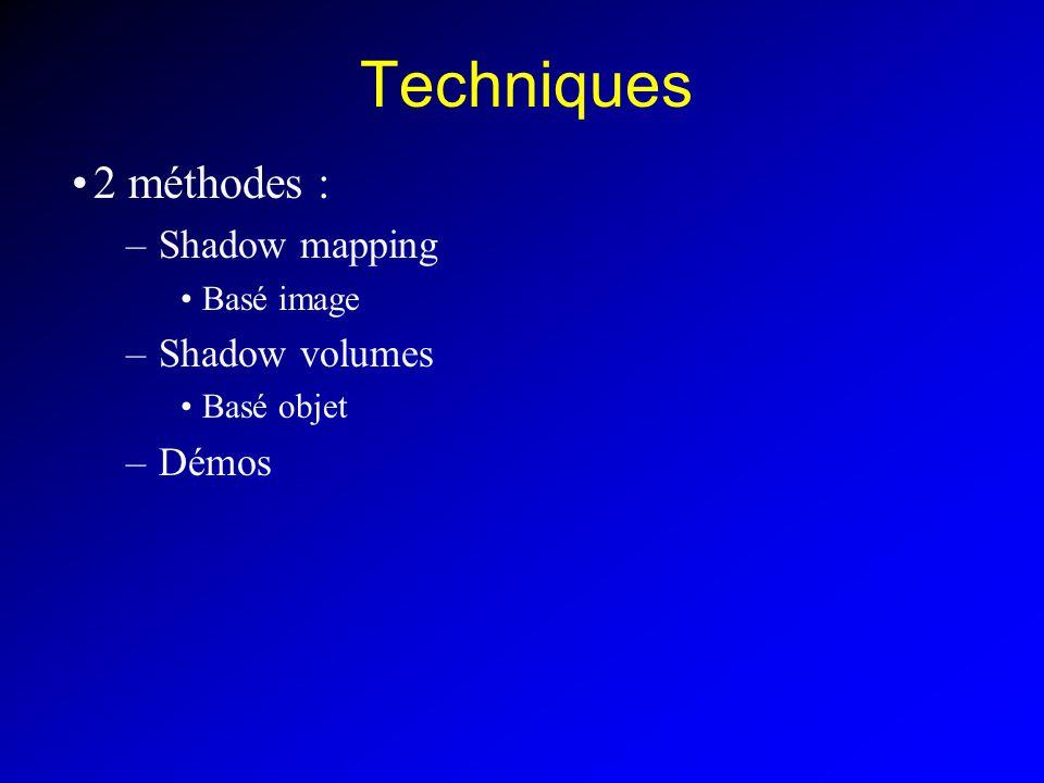 Techniques 2 méthodes : –Shadow mapping Basé image –Shadow volumes Basé objet –Démos