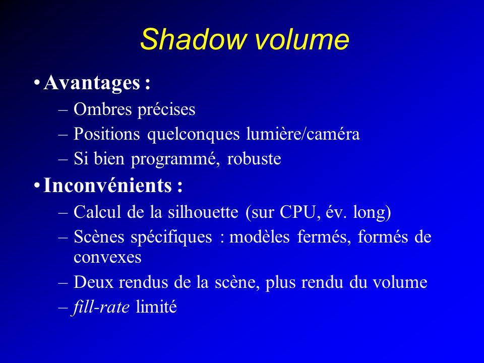 Shadow volume Avantages : –Ombres précises –Positions quelconques lumière/caméra –Si bien programmé, robuste Inconvénients : –Calcul de la silhouette (sur CPU, év.