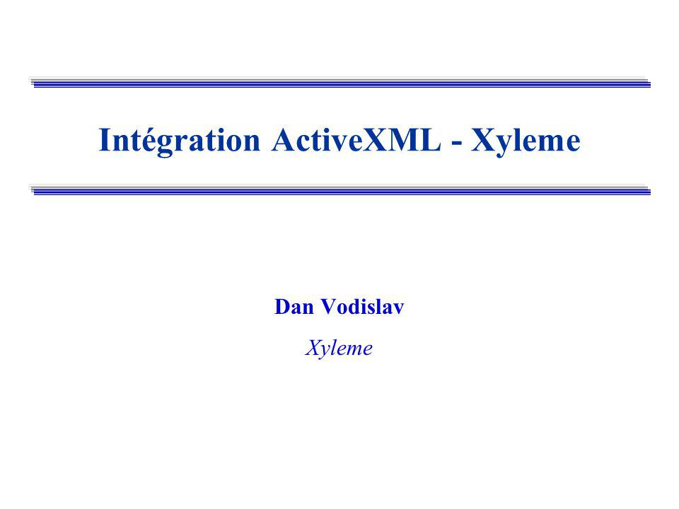 Dan VODISLAV --- Intégration ActiveXML - Xyleme Exemple: un service web Xyleme <![CDATA select element(players v_player/name) from ATPRace in atpStore, v_player in ATPRace//player where v_player/citizenship contains $citizenship$; ]]>