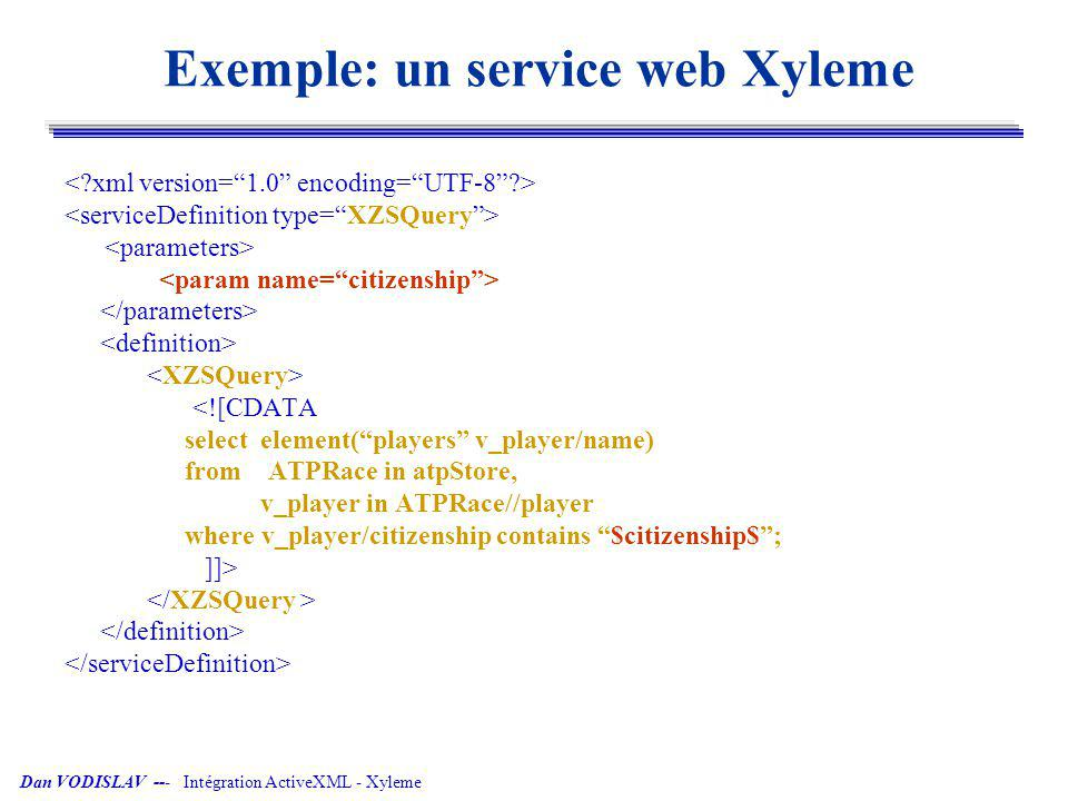 Dan VODISLAV --- Intégration ActiveXML - Xyleme Exemple: un service web Xyleme <![CDATA select element(players v_player/name) from ATPRace in atpStore