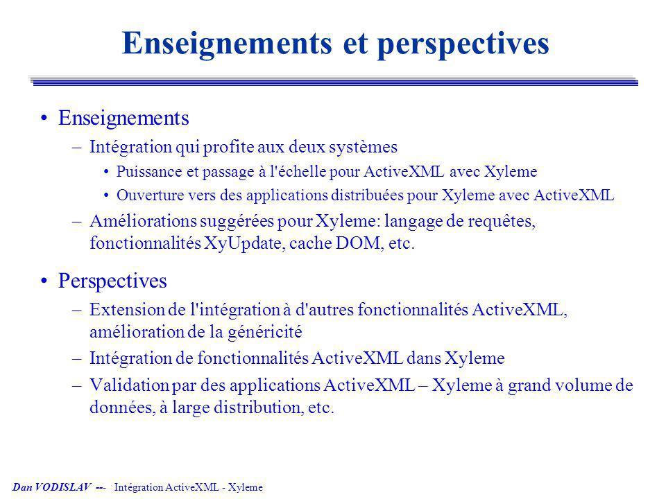 Dan VODISLAV --- Intégration ActiveXML - Xyleme Enseignements et perspectives Enseignements –Intégration qui profite aux deux systèmes Puissance et pa