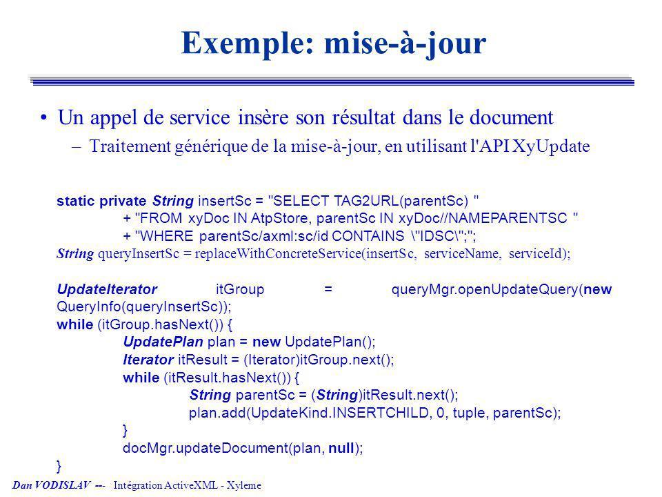 Dan VODISLAV --- Intégration ActiveXML - Xyleme Exemple: mise-à-jour Un appel de service insère son résultat dans le document –Traitement générique de