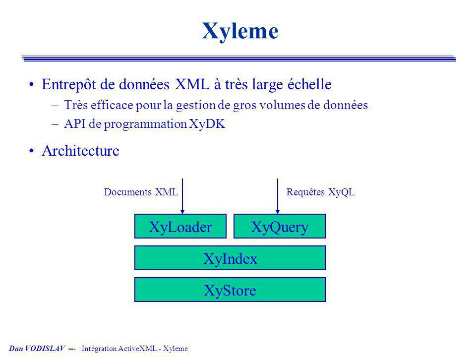 Dan VODISLAV --- Intégration ActiveXML - Xyleme ActiveXML Modèle de documents XML dynamiques –XML + appels de services + modèle d évaluation Plate-forme pour applications distribuées –Communication par services web XOQL processor AXML engine query WSDL service descriptions read update consults SOAP wrapper SOAP AXML peer SOAP service SOAP client AXML peer service call service result AXML store AXML peer AXML XML AXML Paris <axml:sc service=Temperature mode=append frequence=every day >../ville/text()