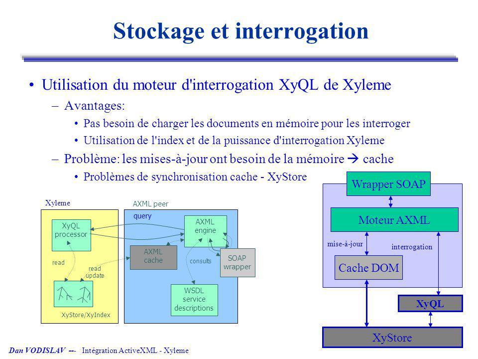 Dan VODISLAV --- Intégration ActiveXML - Xyleme Stockage, interrogation et mise-à-jour Mises-à-jour directement dans Xyleme –Module XyUpdate (janvier 2005) –Pas besoin de maintenir un cache, de le synchroniser avec XyStore –Séparation architecturale propre ActiveXML – base de données –Difficultés pratiques: Optimisation de l accès disque pour les mises-à-jour Modification du modèle de document XS QL processor AXML engine query WSDL service descriptions read update consults SOAP wrapper AXML peer XyStore/XyIndex XyUpdate update Xyleme Wrapper SOAP XyQL Moteur AXML XyStore mise-à-jourinterrogation XyUpdate