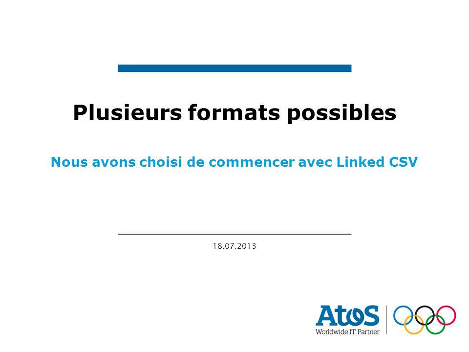 18.07.2013 Plusieurs formats possibles Nous avons choisi de commencer avec Linked CSV