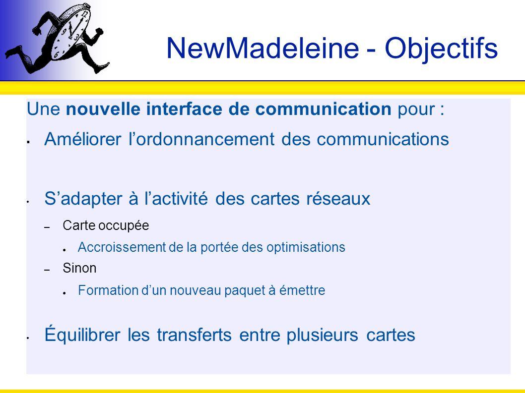 NewMadeleine - Objectifs Une nouvelle interface de communication pour : Améliorer lordonnancement des communications Sadapter à lactivité des cartes r