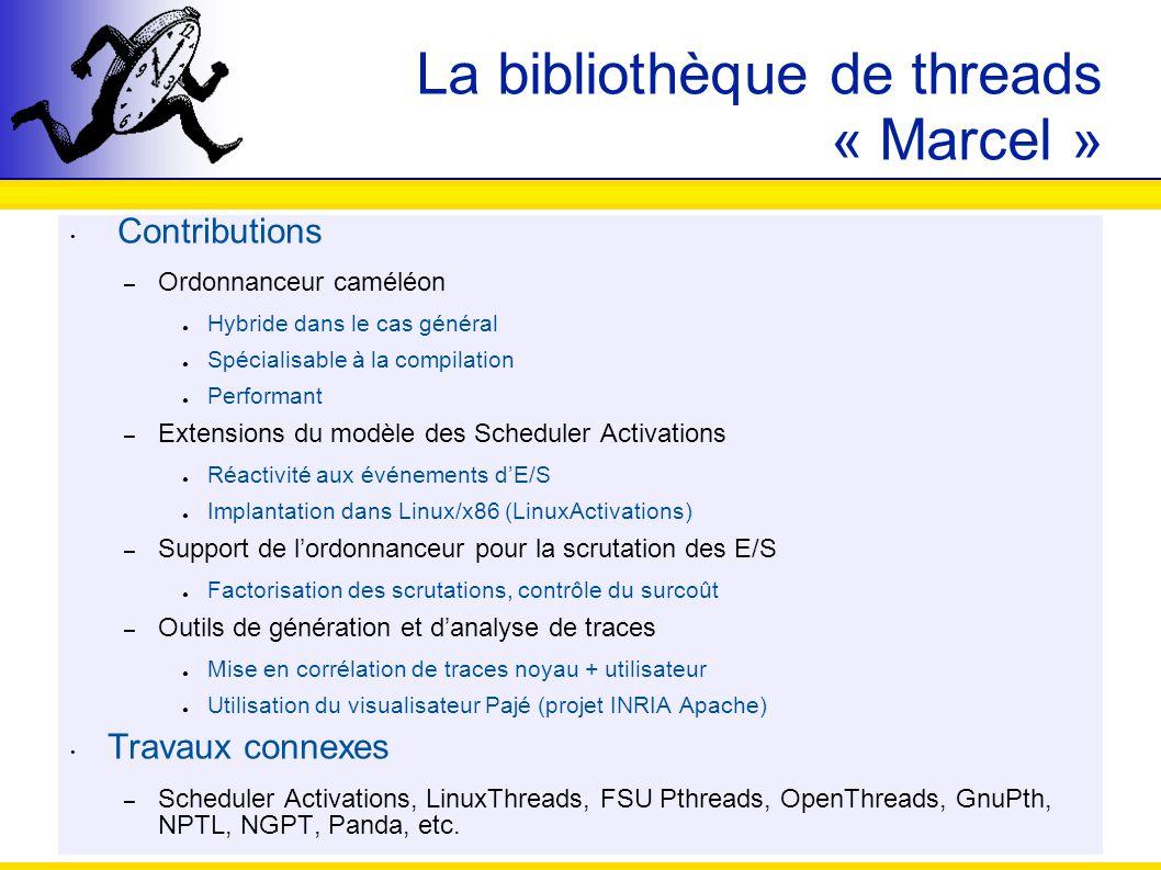 La bibliothèque de threads « Marcel » Contributions – Ordonnanceur caméléon Hybride dans le cas général Spécialisable à la compilation Performant – Ex