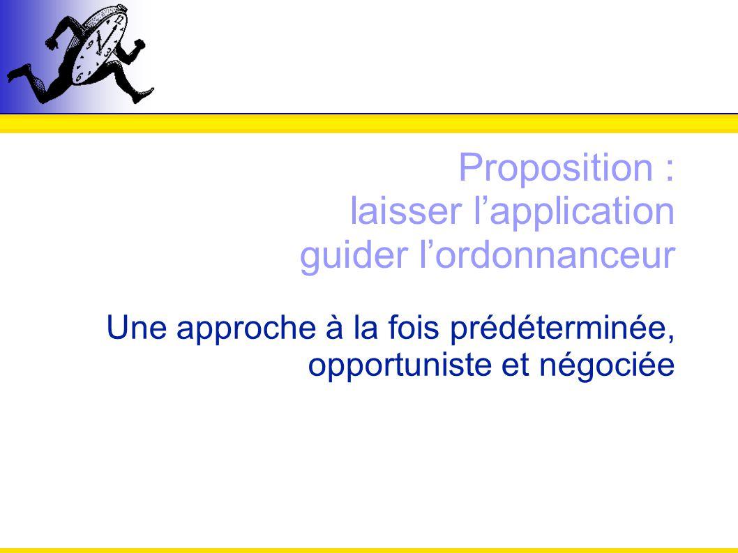 Proposition : laisser lapplication guider lordonnanceur Une approche à la fois prédéterminée, opportuniste et négociée
