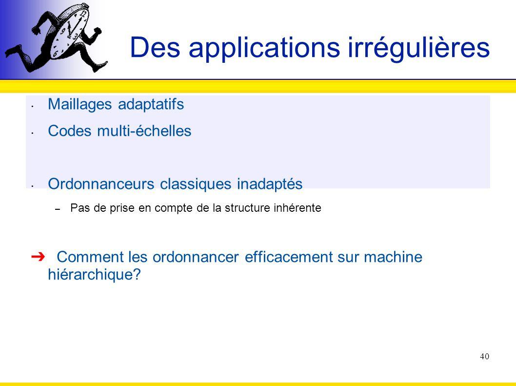40 Des applications irrégulières Maillages adaptatifs Codes multi-échelles Ordonnanceurs classiques inadaptés – Pas de prise en compte de la structure