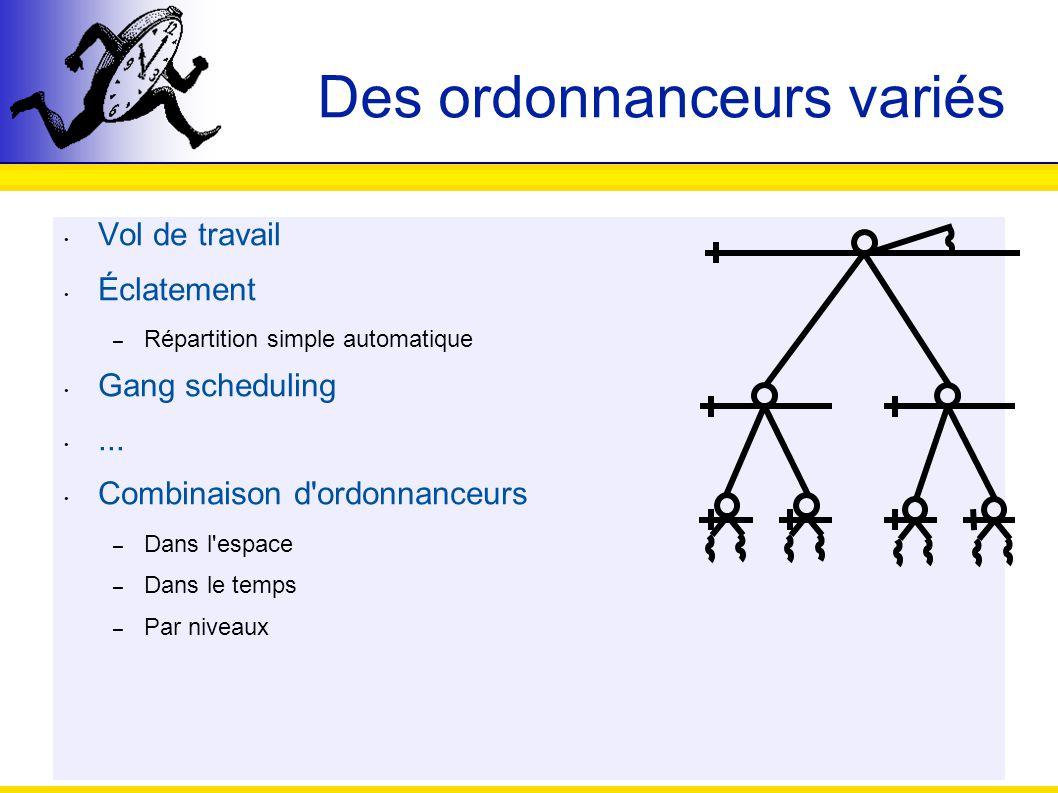 48 Des ordonnanceurs variés Vol de travail Éclatement – Répartition simple automatique Gang scheduling... Combinaison d'ordonnanceurs – Dans l'espace