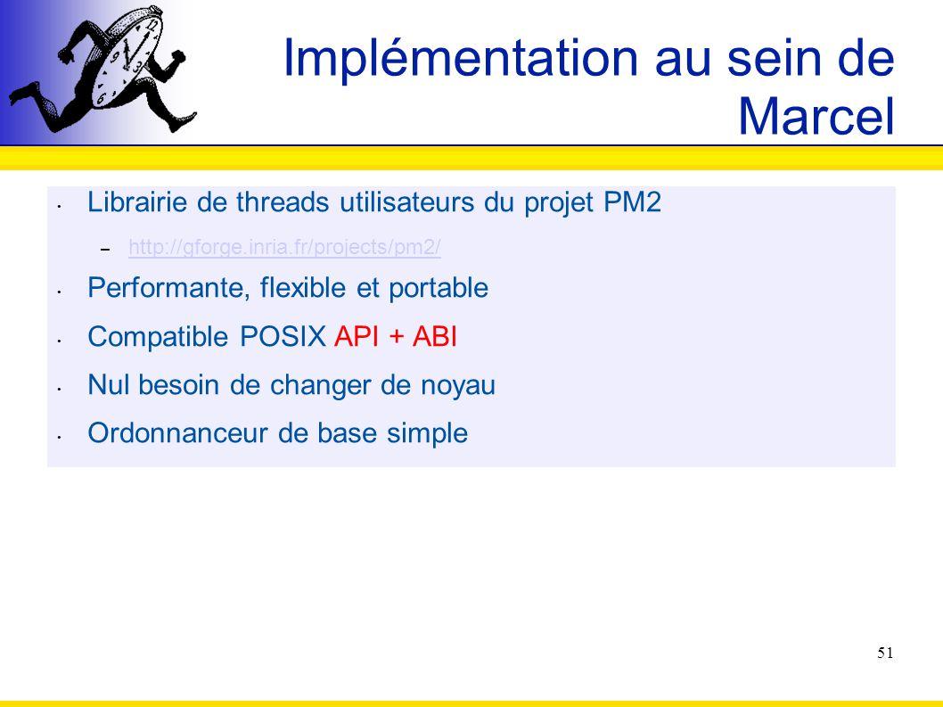 51 Implémentation au sein de Marcel Librairie de threads utilisateurs du projet PM2 – http://gforge.inria.fr/projects/pm2/ http://gforge.inria.fr/proj