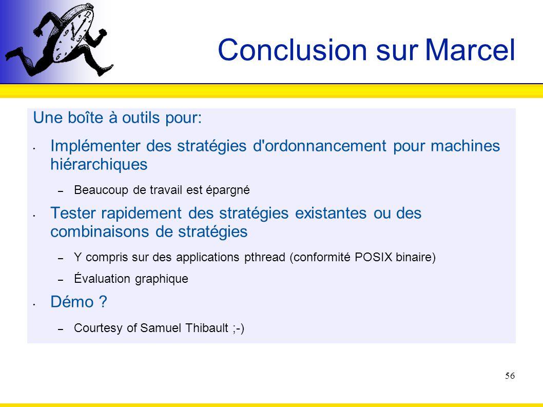 56 Conclusion sur Marcel Une boîte à outils pour: Implémenter des stratégies d'ordonnancement pour machines hiérarchiques – Beaucoup de travail est ép
