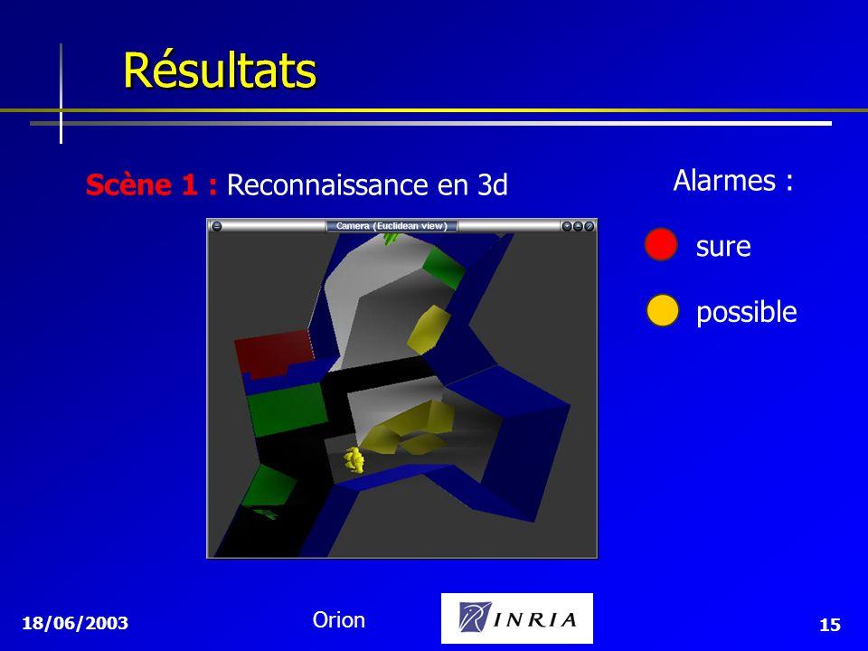 18/06/2003 Orion 15 Résultats Résultats Scène 1 : Reconnaissance en 3d sure possible Alarmes :