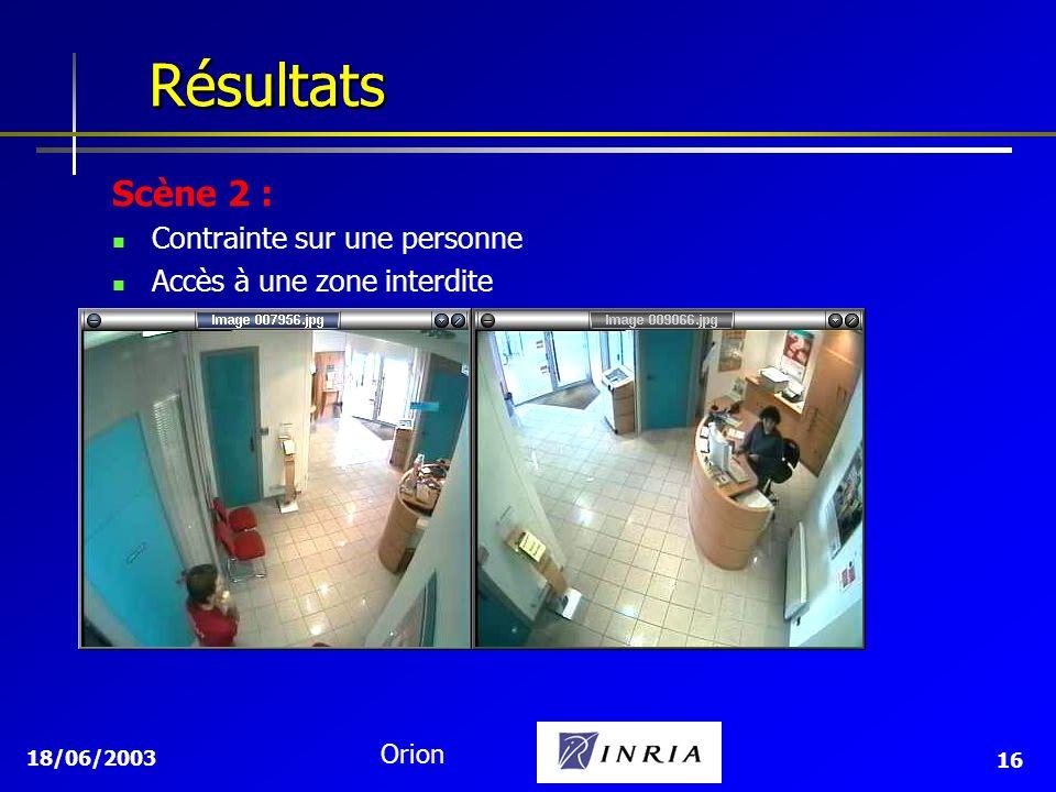 18/06/2003 Orion 16 Résultats Résultats Scène 2 : Contrainte sur une personne Accès à une zone interdite
