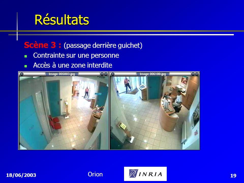 18/06/2003 Orion 19 Résultats Résultats Scène 3 : (passage derrière guichet) Contrainte sur une personne Accès à une zone interdite