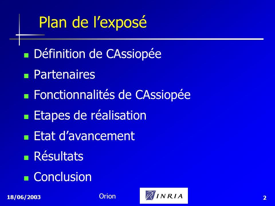 18/06/2003 Orion 2 Définition de CAssiopée Partenaires Fonctionnalités de CAssiopée Etapes de réalisation Etat davancement Résultats Conclusion Plan d