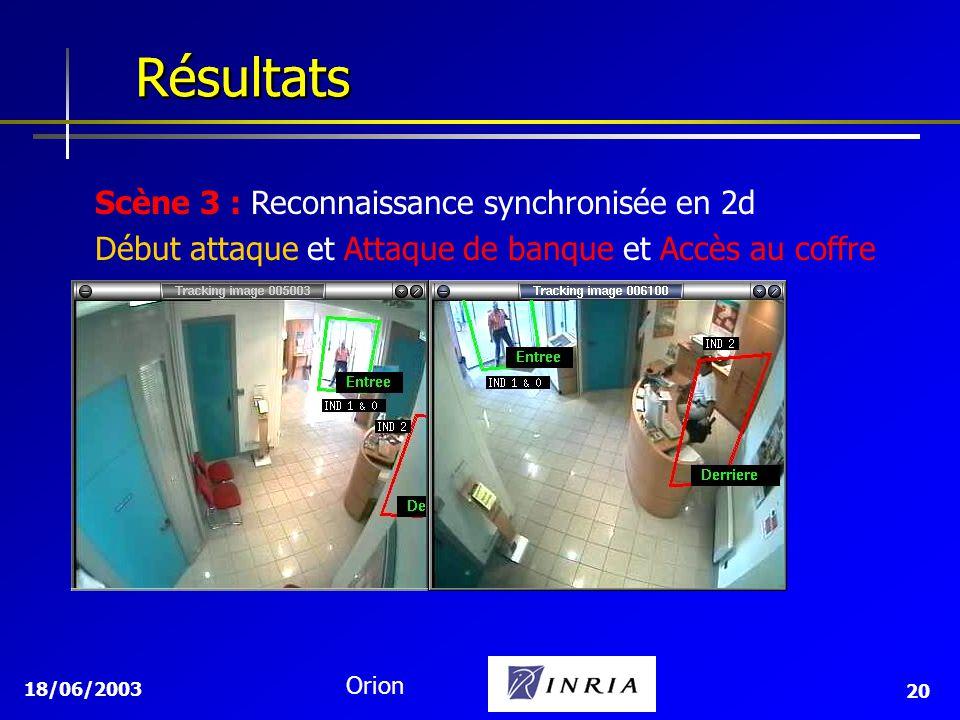 18/06/2003 Orion 20 Résultats Résultats Scène 3 : Reconnaissance synchronisée en 2d Début attaque et Attaque de banque et Accès au coffre