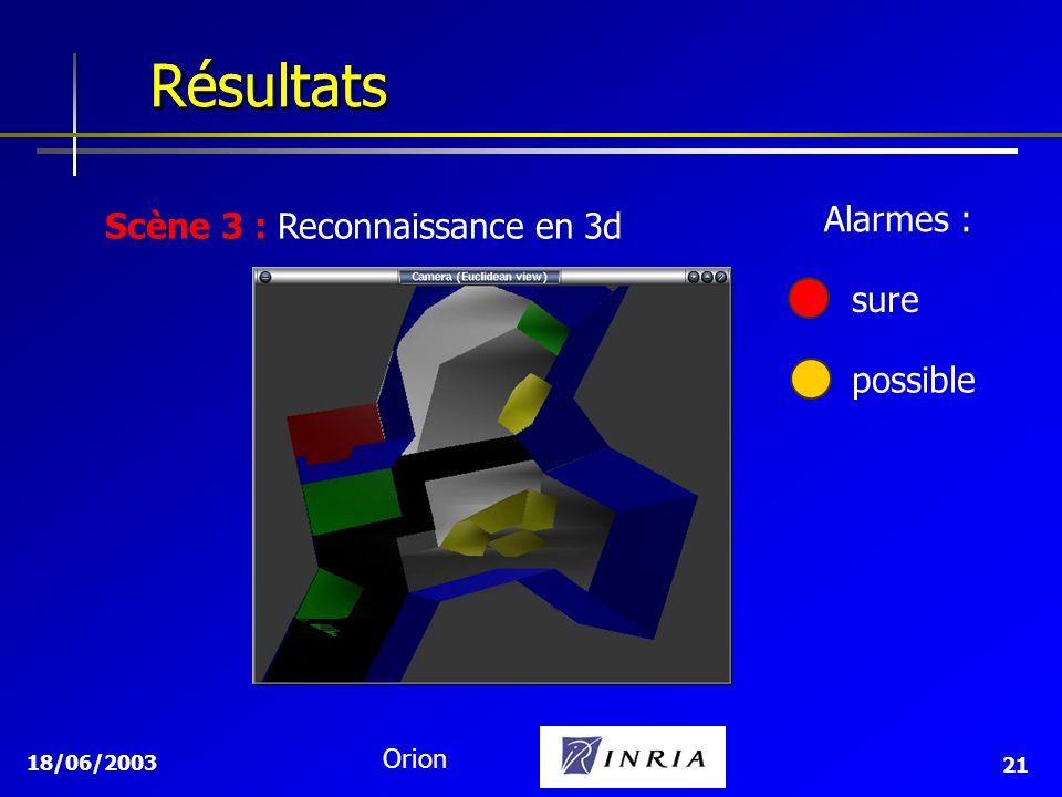 18/06/2003 Orion 21 Résultats Résultats Scène 3 : Reconnaissance en 3d sure possible Alarmes :