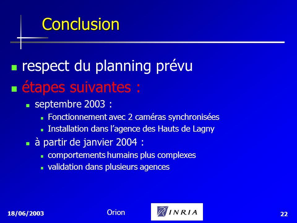 18/06/2003 Orion 22 Conclusion respect du planning prévu étapes suivantes : septembre 2003 : Fonctionnement avec 2 caméras synchronisées Installation dans lagence des Hauts de Lagny à partir de janvier 2004 : comportements humains plus complexes validation dans plusieurs agences
