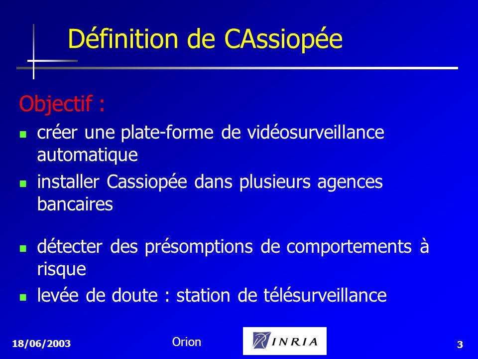 18/06/2003 Orion 3 Définition de CAssiopée Objectif : créer une plate-forme de vidéosurveillance automatique installer Cassiopée dans plusieurs agences bancaires détecter des présomptions de comportements à risque levée de doute : station de télésurveillance