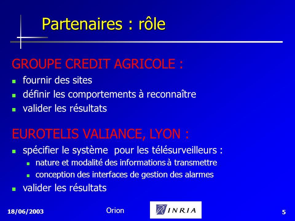 18/06/2003 Orion 5 GROUPE CREDIT AGRICOLE : fournir des sites définir les comportements à reconnaître valider les résultats Partenaires : rôle EUROTEL