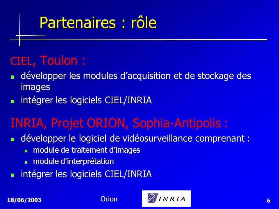 18/06/2003 Orion 6 Partenaires : rôle INRIA, Projet ORION, Sophia-Antipolis : développer le logiciel de vidéosurveillance comprenant : module de trait