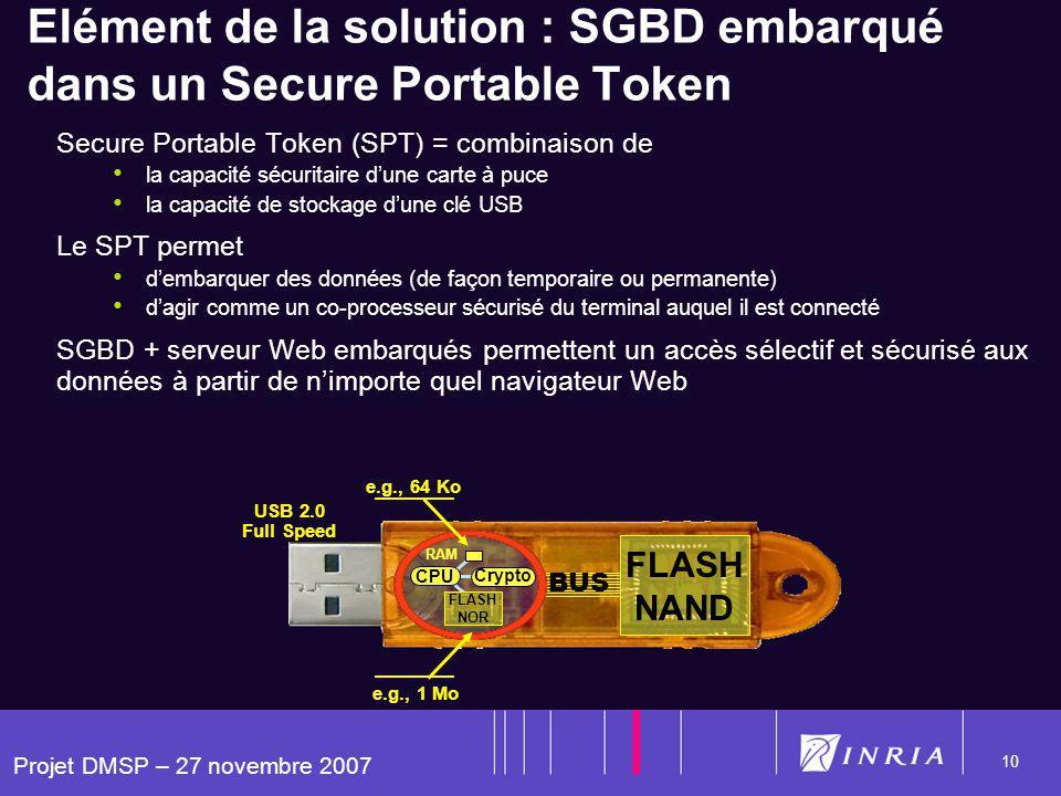 Projet DMSP – 27 novembre 2007 10 BUS FLASH NAND RAM FLASH NOR CPU Crypto Elément de la solution : SGBD embarqué dans un Secure Portable Token Secure Portable Token (SPT) = combinaison de la capacité sécuritaire dune carte à puce la capacité de stockage dune clé USB Le SPT permet dembarquer des données (de façon temporaire ou permanente) dagir comme un co-processeur sécurisé du terminal auquel il est connecté SGBD + serveur Web embarqués permettent un accès sélectif et sécurisé aux données à partir de nimporte quel navigateur Web USB 2.0 Full Speed e.g., 64 Ko e.g., 1 Mo