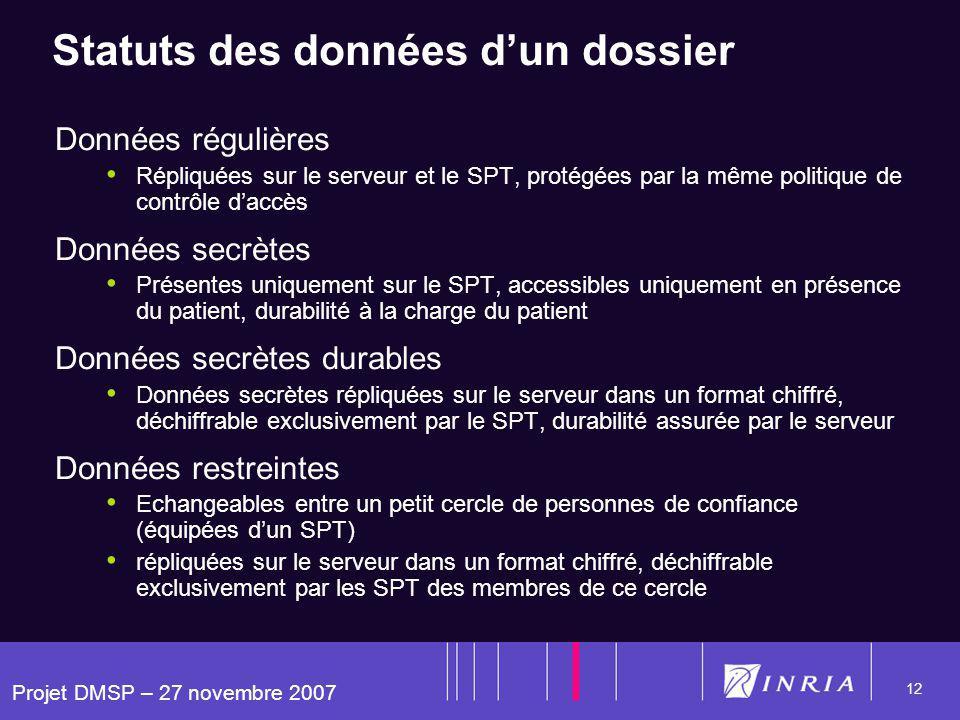 Projet DMSP – 27 novembre 2007 12 Statuts des données dun dossier Données régulières Répliquées sur le serveur et le SPT, protégées par la même politi