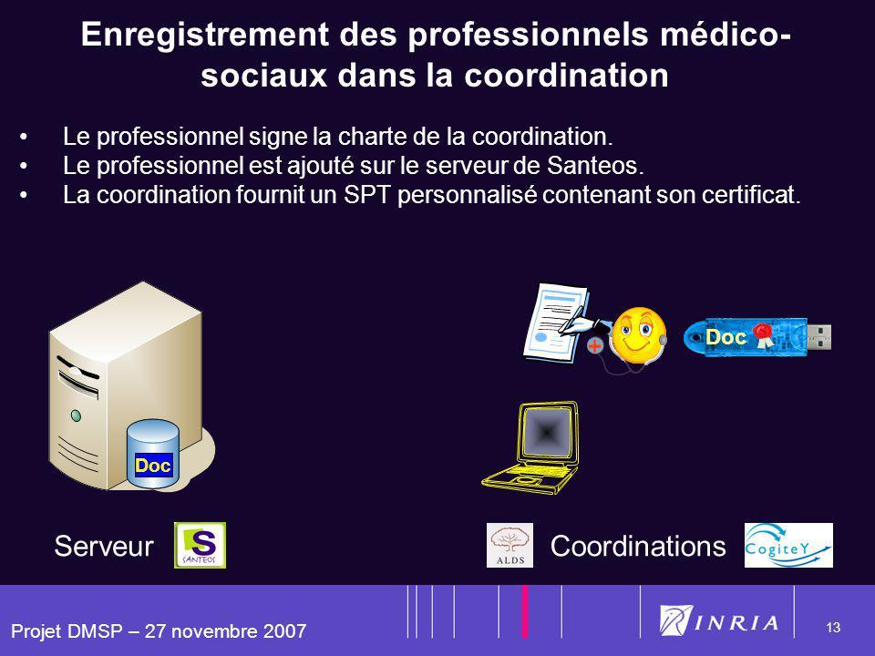 Projet DMSP – 27 novembre 2007 13 Enregistrement des professionnels médico- sociaux dans la coordination Le professionnel signe la charte de la coordi
