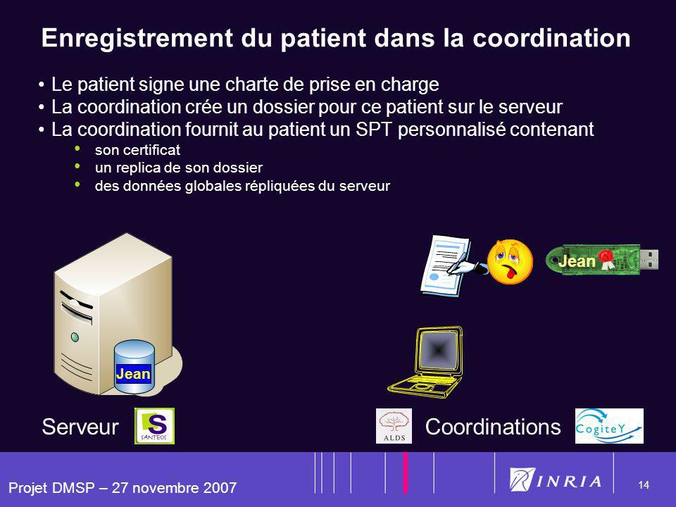 Projet DMSP – 27 novembre 2007 14 Enregistrement du patient dans la coordination Le patient signe une charte de prise en charge La coordination crée u