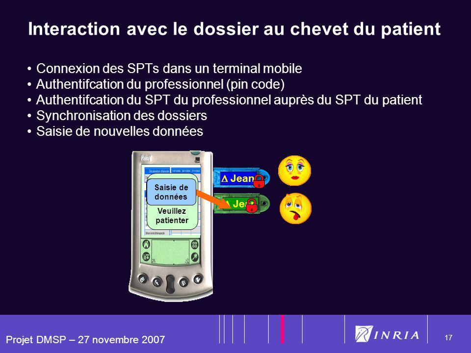 Projet DMSP – 27 novembre 2007 17 Jean Lucie Interaction avec le dossier au chevet du patient Connexion des SPTs dans un terminal mobile Authentifcati