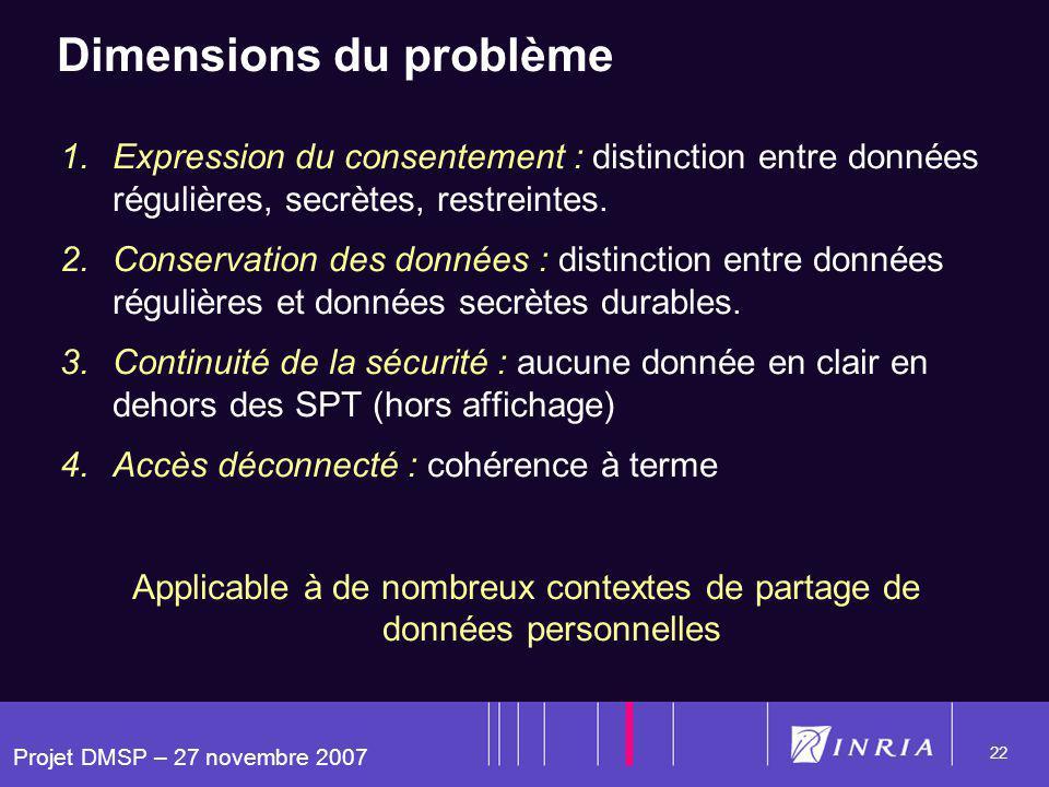 Projet DMSP – 27 novembre 2007 22 Dimensions du problème 1.Expression du consentement : distinction entre données régulières, secrètes, restreintes. 2