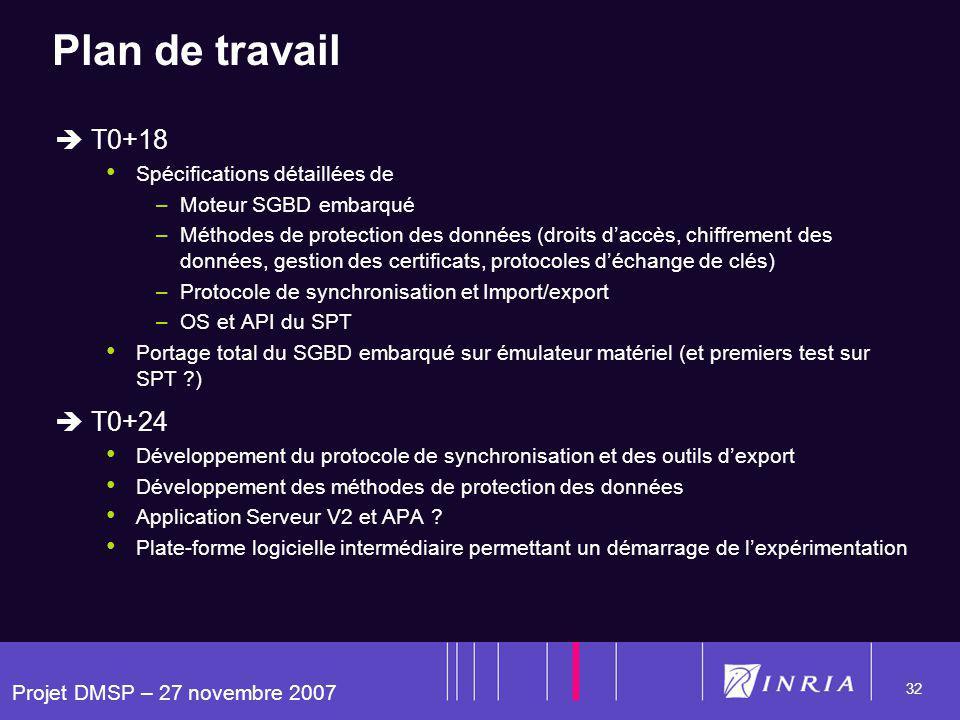 Projet DMSP – 27 novembre 2007 32 Plan de travail T0+18 Spécifications détaillées de –Moteur SGBD embarqué –Méthodes de protection des données (droits