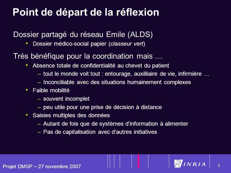 Projet DMSP – 27 novembre 2007 5 Point de départ de la réflexion Dossier partagé du réseau Emile (ALDS) Dossier médico-social papier (classeur vert) T